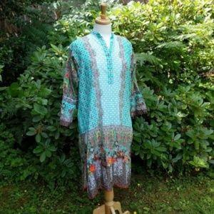 J Pret Floral Ethnic Tunic 100% Cotton Green